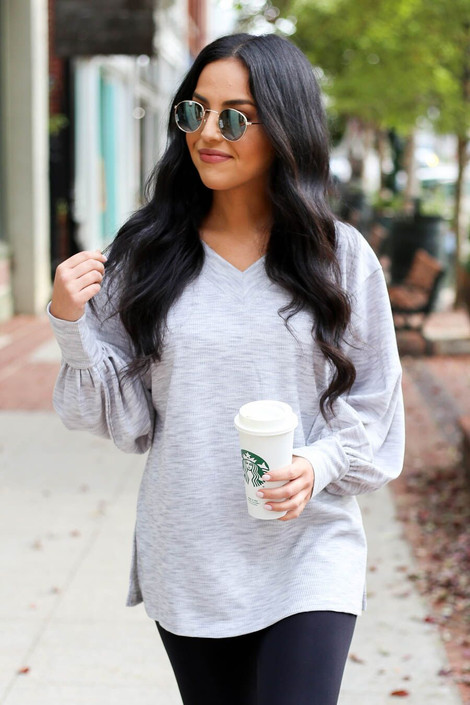 Grey - Heathered Knit Balloon Sleeve Top from ShopDressUp