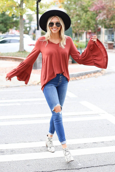 Rust - Tiered Bell Sleeve Top from Dress Up Boutique