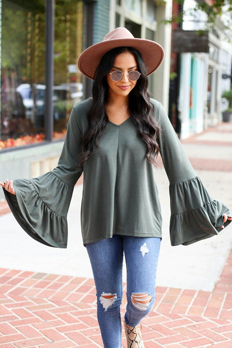 Olive - Tiered Bell Sleeve Top from Dress Up Boutique