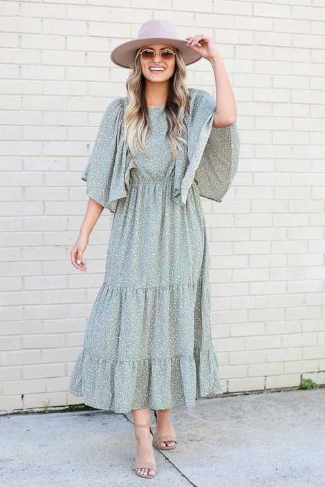 Sage - Flutter Sleeve Tiered Midi Dress from Dress Up Boutique