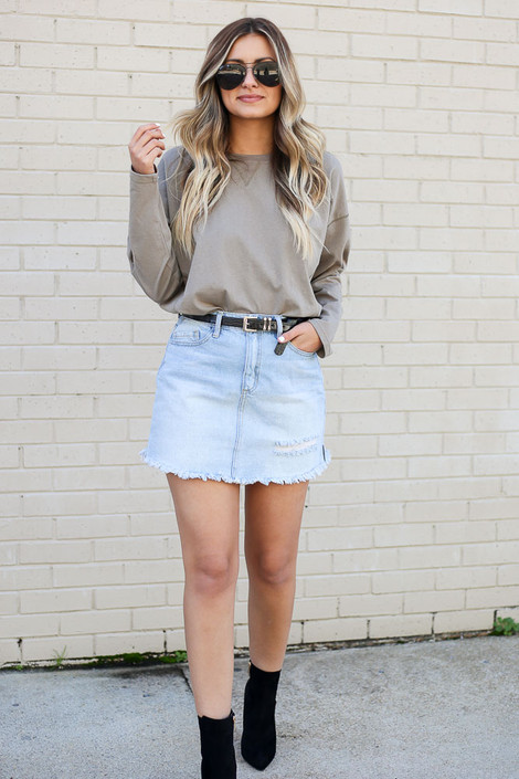 Light Wash - Distressed Classic Denim Skirt from Dress Up