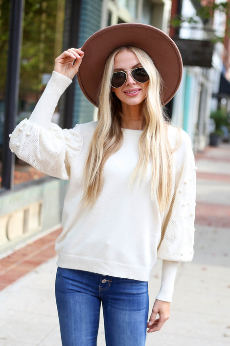 Ivory - Balloon Sleeve Pom Pom Sweater Front View