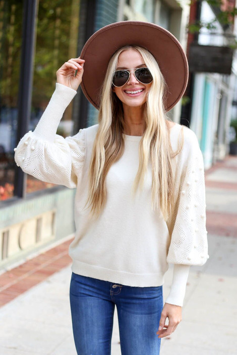 Ivory - Pom Pom Balloon Sleeve Sweater from ShopDressUp