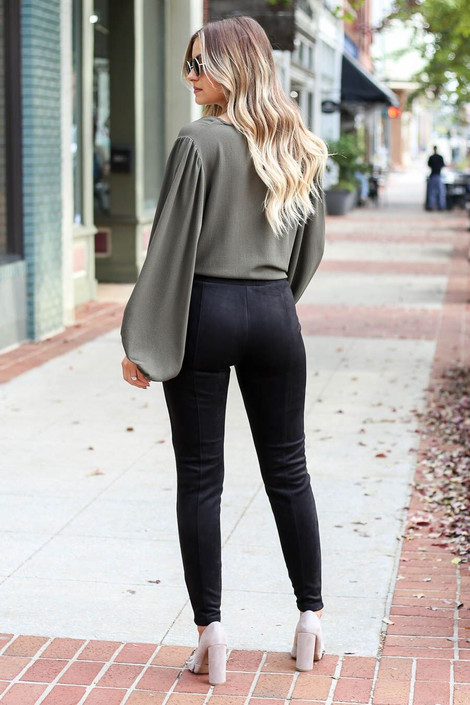 Model wearing the Black Suede Ponte Front Seam Pants from Dress Up Boutique - Back View