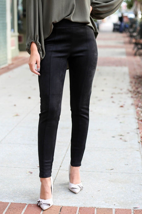 Black - Suede Ponte Front Seam Pants from Dress Up Boutique