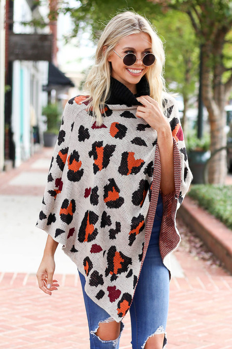 Taupe - and Orange Leopard Turtleneck Poncho