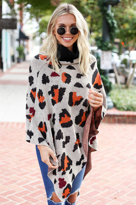 Taupe - and Orange Leopard Turtleneck Poncho Full View