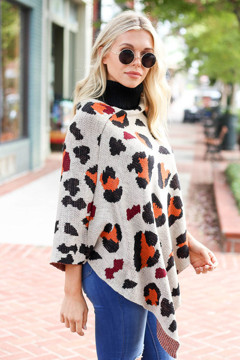 Taupe - and Orange Leopard Turtleneck Poncho Side View