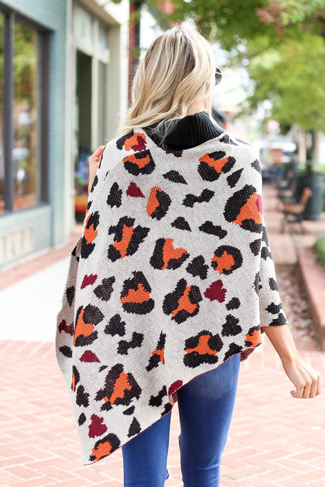 Taupe - and Orange Leopard Turtleneck Poncho Back View