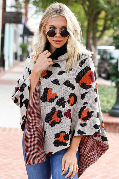 Taupe - and Orange Leopard Turtleneck Poncho Front View