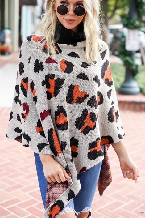 Taupe - and Orange Leopard Turtleneck Poncho Detail View