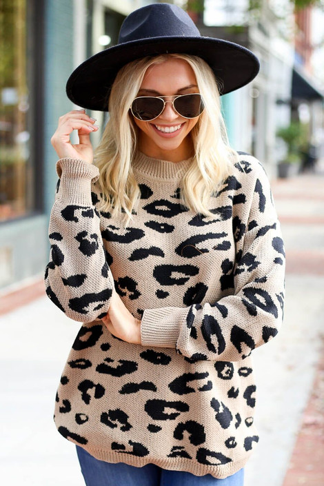 Model wearing the Leopard Print Sweater from Dress Up Boutique - Front View