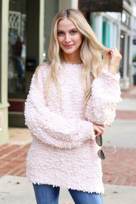Blush - Fuzzy Popcorn Knit Oversized Sweater from Dress Up Boutique