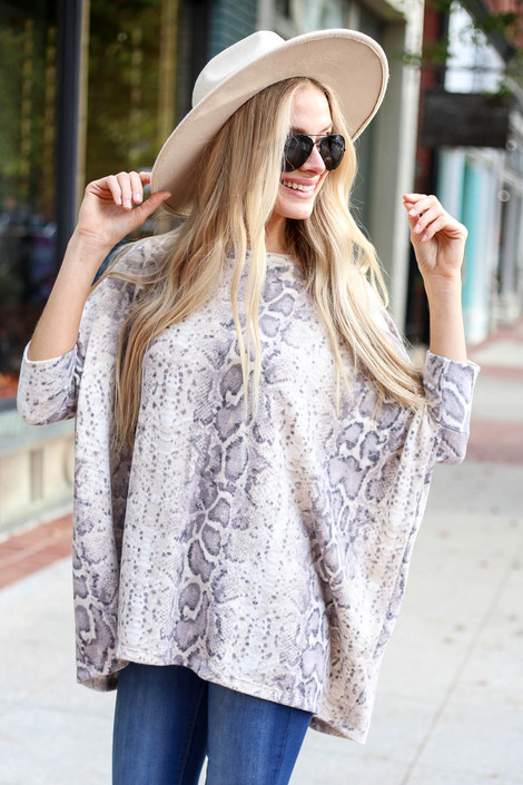 Grey - Snakeskin Fleece Oversized Top