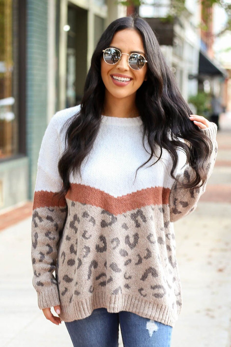 Model of Dress Up wearing the Color Block Leopard Sweater in Taupe - Front View