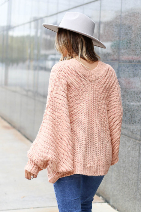 Blush - Button Front Oversized Sweater Back View