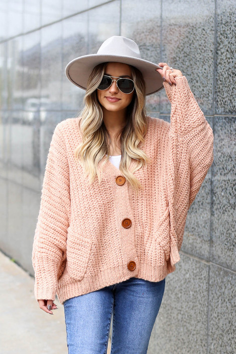 Blush - Button Front Oversized Sweater Front View