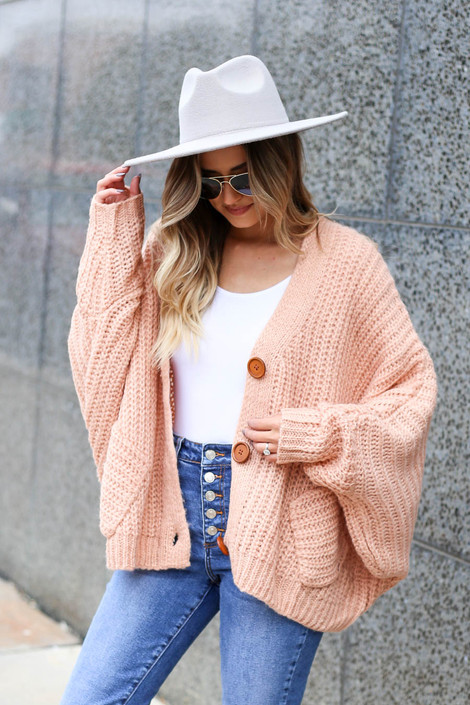 Blush - Button Front Oversized Sweater Side View