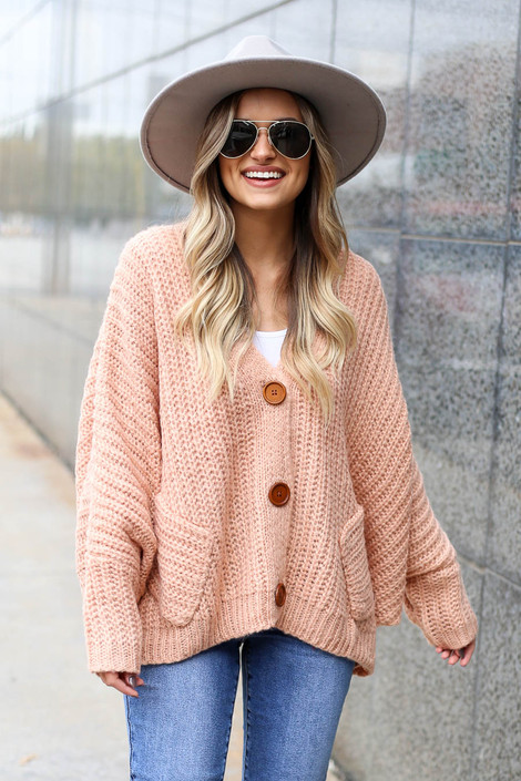 Blush - Button Front Oversized Sweater on Model