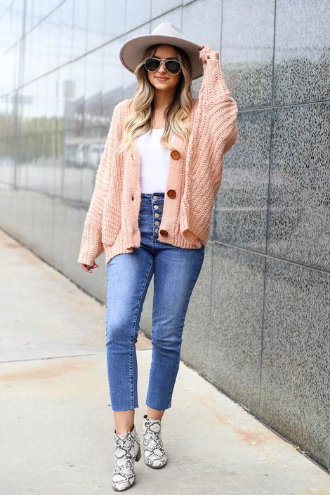 Christine Button Front Oversized Sweater