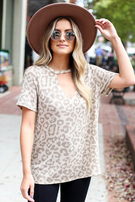 Taupe - Leopard Print Keyhole Top Front View
