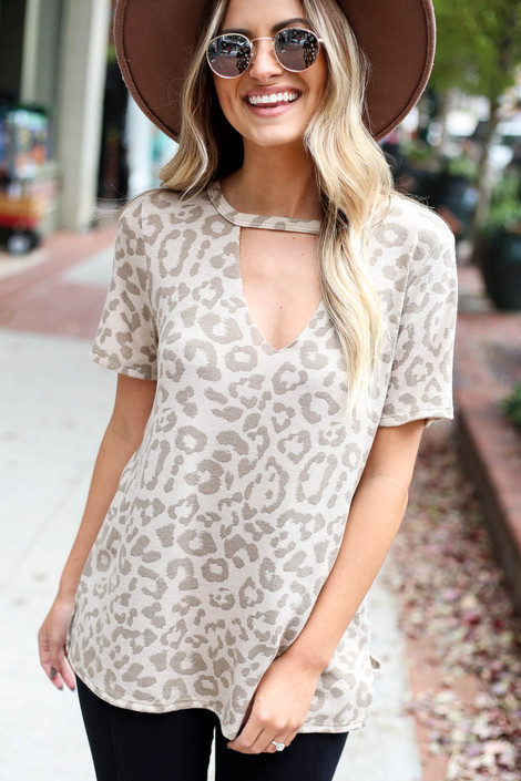Taupe - Leopard Print Keyhole Top
