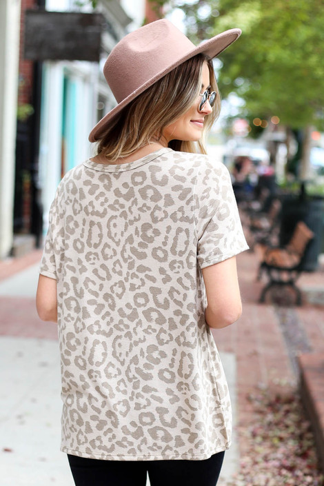 Taupe - Leopard Print Keyhole Top Back View