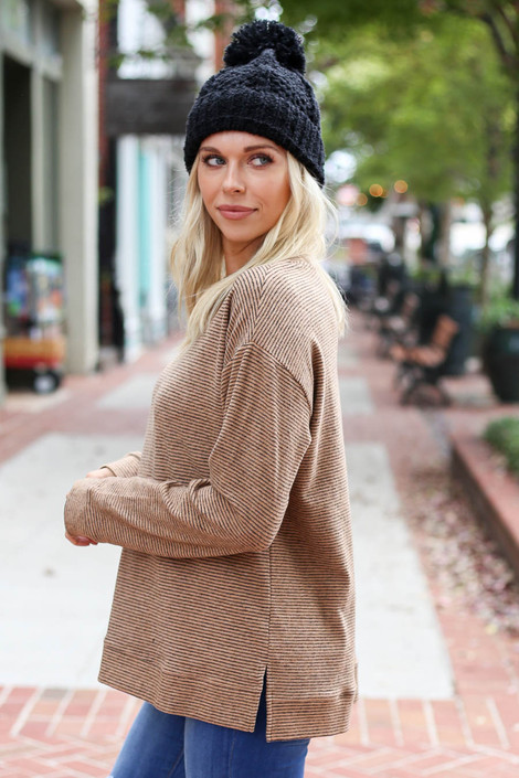 Taupe - Striped Brush Knit Top Side View