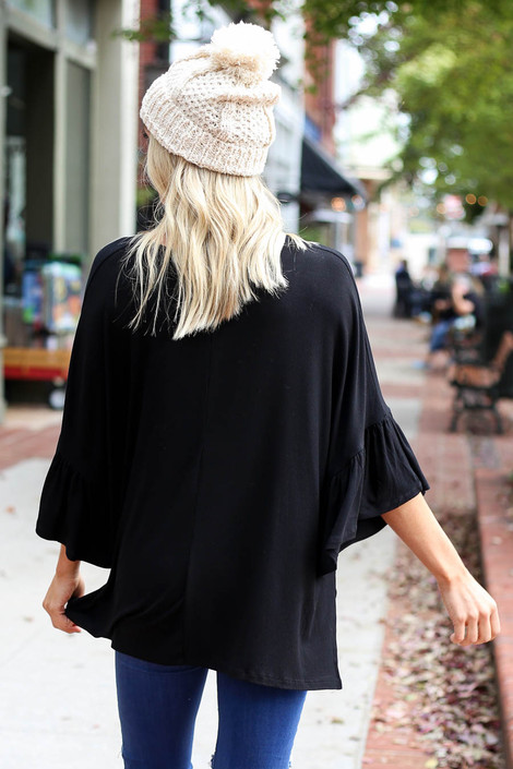 Black - Flutter Sleeve Oversized Top Back View