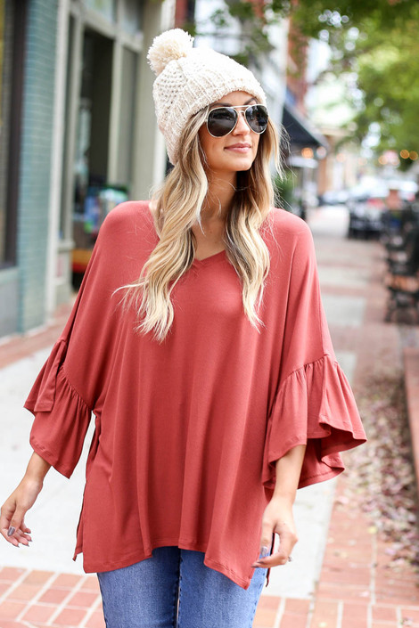 Rust - Flutter Sleeve Oversized Top Front View