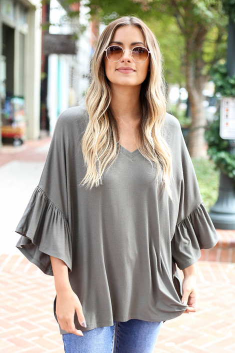 Olive - Flutter Sleeve Oversized Top Front View