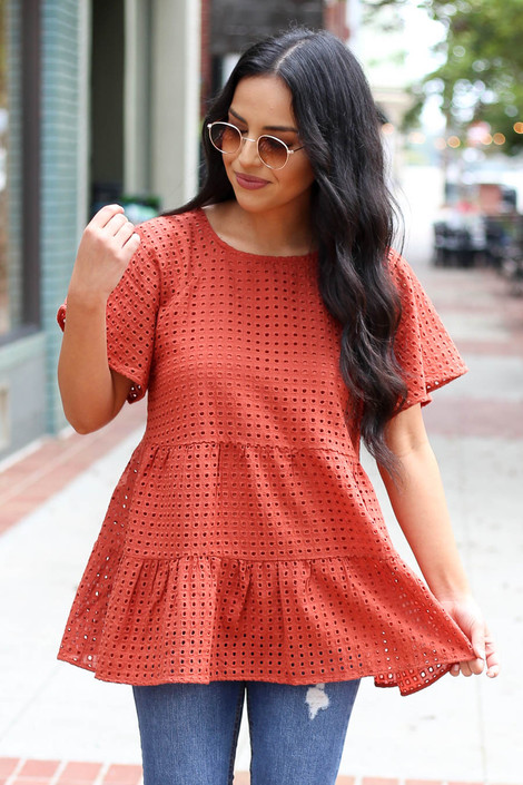 Rust - Eyelet Lace Top