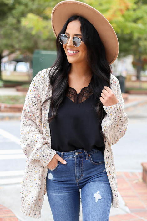 Ivory - Confetti Knit Ballon Sleeve Chenille Cardigan Front View