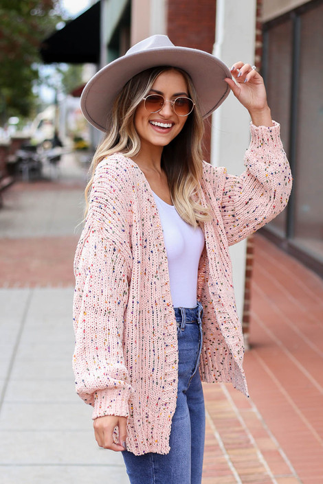 Blush - Confetti Knit Ballon Sleeve Chenille Cardigan Side View