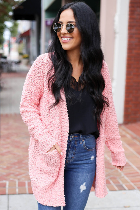 Blush - Pocketed Popcorn Knit Cardigan Front View