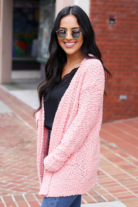 Blush - Pocketed Popcorn Knit Cardigan Side View
