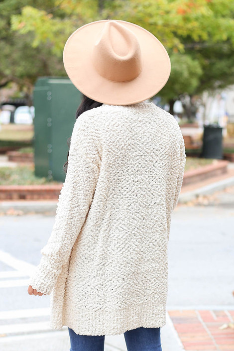 Ivory - Pocketed Popcorn Knit Cardigan Back View
