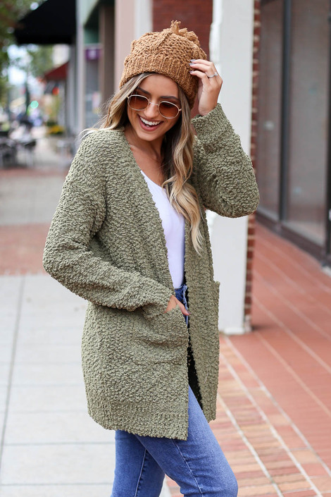 Olive - Pocketed Popcorn Knit Cardigan Side View