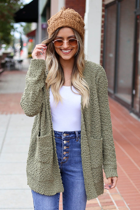 Olive - Pocketed Popcorn Knit Cardigan Front View