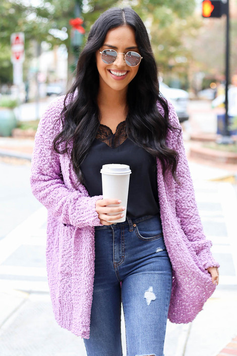 Lilac - Pocketed Popcorn Knit Cardigan
