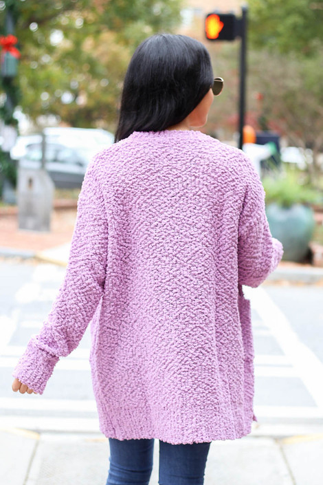 Lilac - Pocketed Popcorn Knit Cardigan Back View