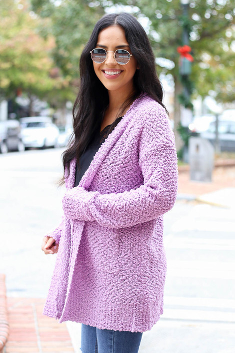 Lilac - Pocketed Popcorn Knit Cardigan Side View