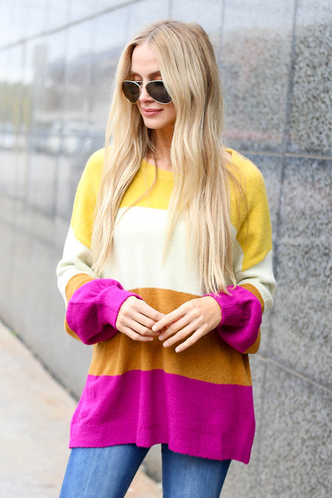 Multi - Color Block Sweater