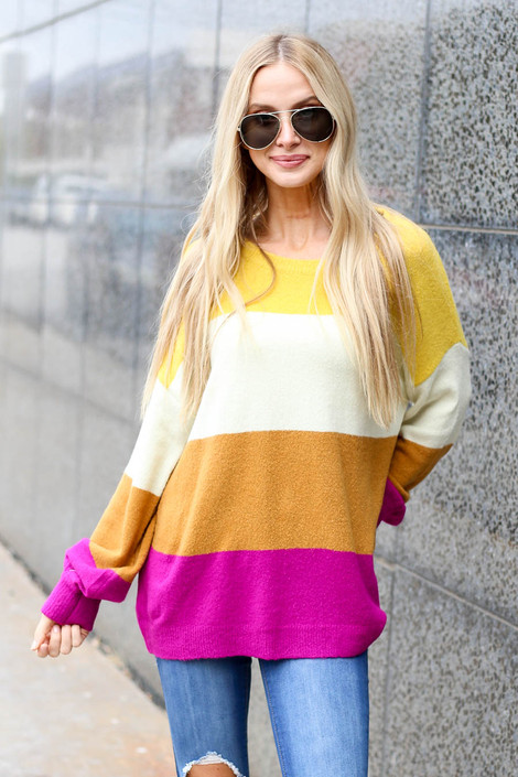 Multi - Color Block Sweater Front View