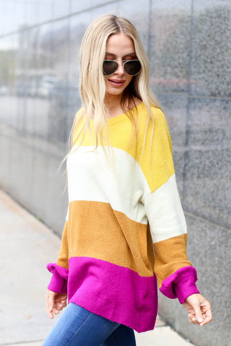 Multi - Color Block Sweater Side View
