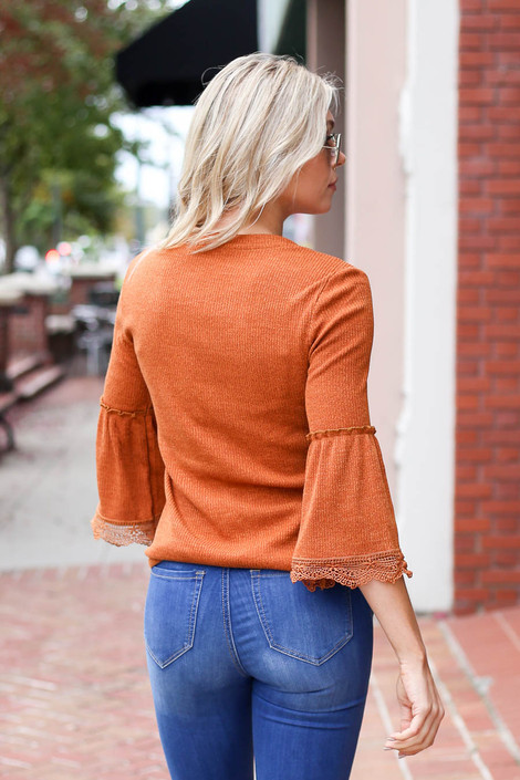 Rust - Lace Sleeve Blouse Back View