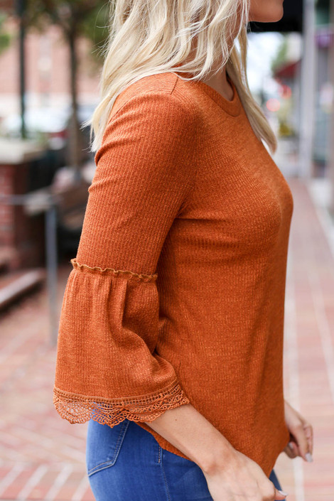 Rust - Lace Sleeve Blouse Detail View