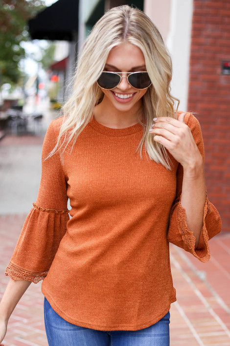 Rust - Lace Sleeve Blouse on Model