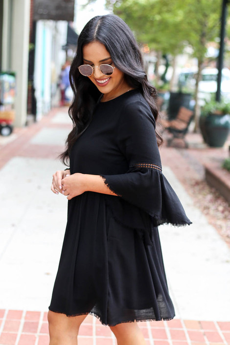 Black - Bell Sleeve Raw Hem Babydoll Dress Side View