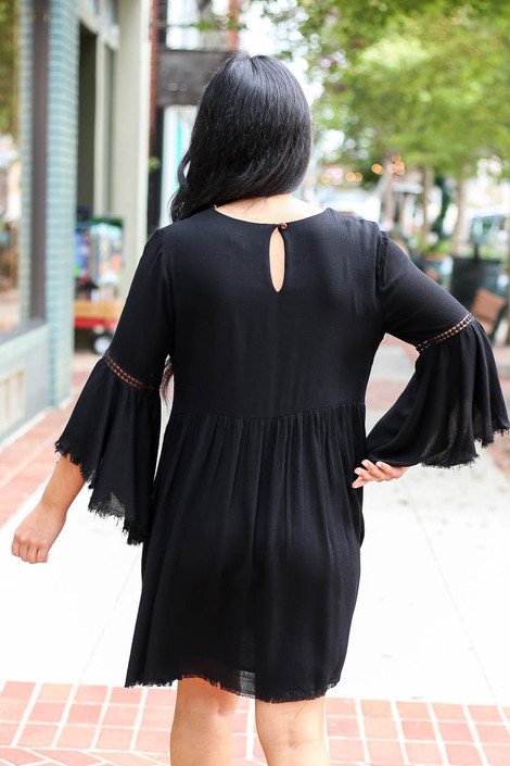 Black - Bell Sleeve Raw Hem Babydoll Dress Back View
